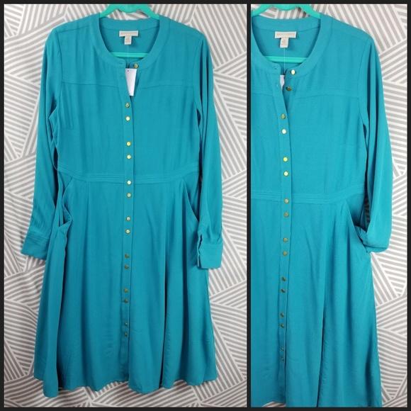 Collar Teal Sleeve Appleseeds Dress Long 10 NWT New pGUzqSMV